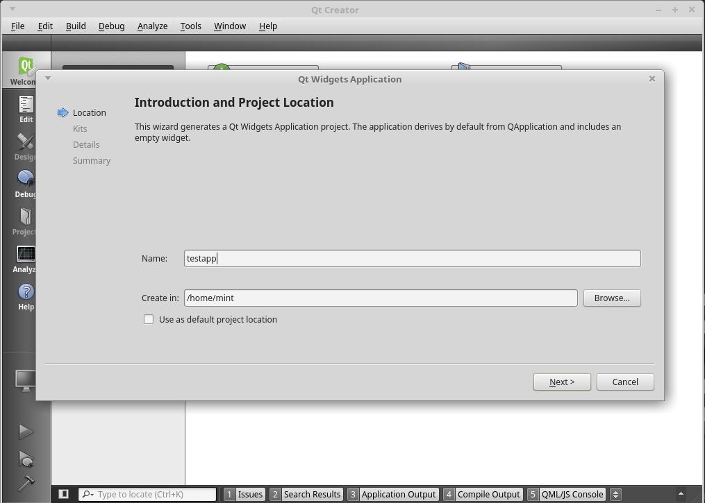 QtCreatorでプロジェクトの作成