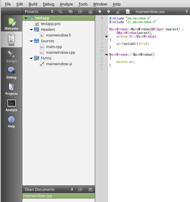 QtCreatorでコードを編集