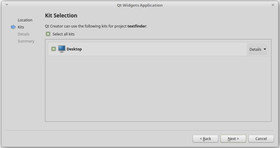 QtCreator  kit selection