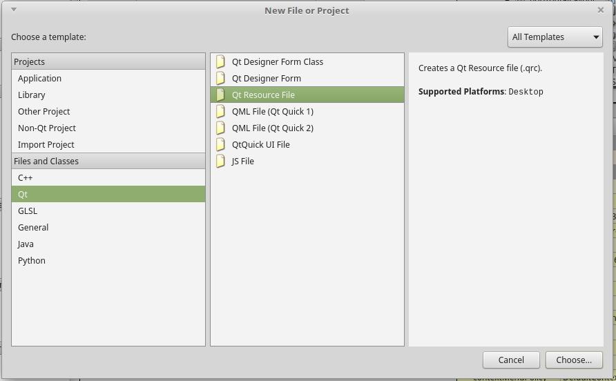 QtCreatorリソースファイル