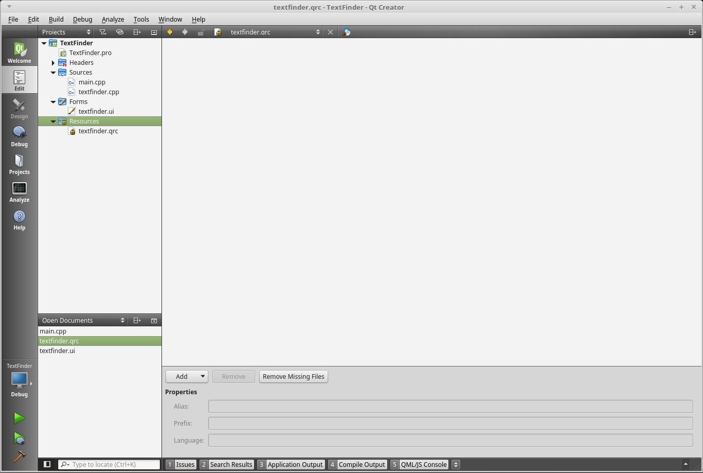 QtCreatorリソースファイル追加